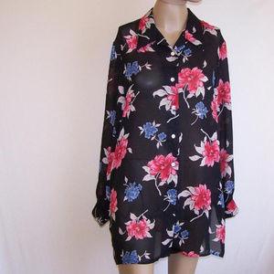 Shirt Tunic Top 14 Sheer Floral JACLYN SMITH